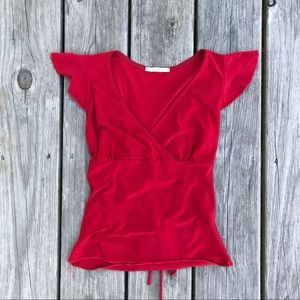 Tops - Forever 21 red ruffle sleeve top